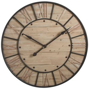 horloge murale en metal et bois achat vente horloge. Black Bedroom Furniture Sets. Home Design Ideas