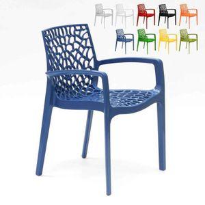 SALON DE JARDIN  Chaise en polypropylène accoudoirs jardin cafè Gra