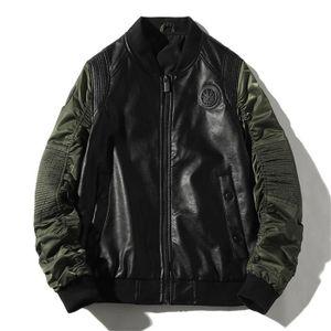BLOUSON - VESTE Veste Homme PU cuir Hiver Mode Manteau de marque C