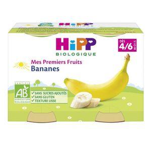 DESSERT FRUITS BÉBÉ HIPP BIOLOGIQUE Mes premiers fruits banane - 2x125