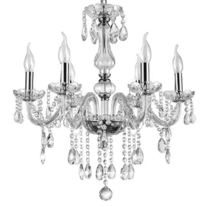 lustre cristal,6 lumières transparent cristal Lampe suspension classique lustre Suspension Plafonnier antique cristal lustre E14