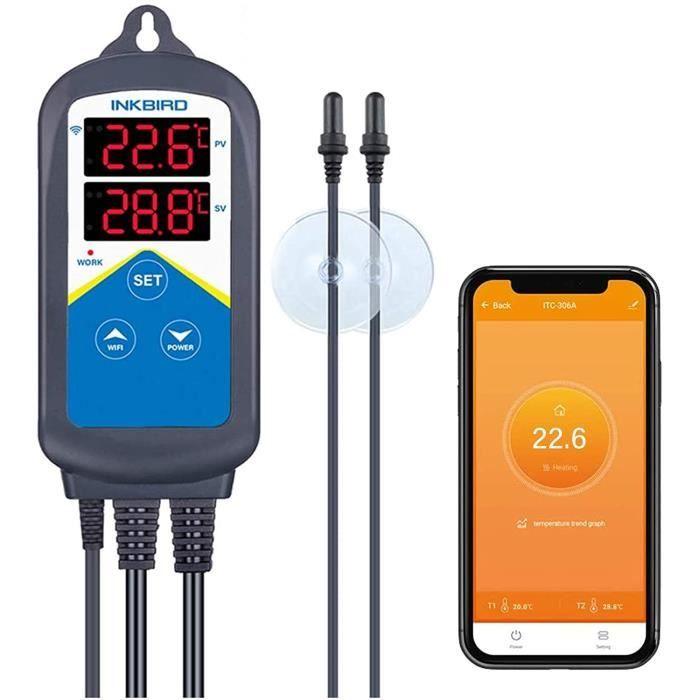 Thermostat Chauffage WiFi,Regulateur de Temperature Prise Aquarium Thermostat, Inkbird ITC-306A 220V pour Pompe Aquarium,Poissons