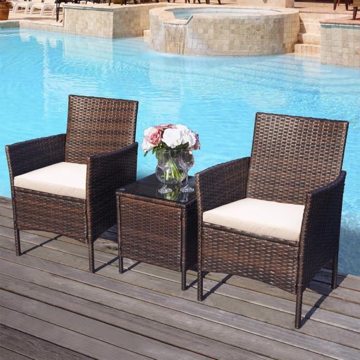 Zone de loisirs Ensemble de meubles de jardin en rotin 3 pièces Ensemble de patio extérieur en rotin comprenant un coussin Une table