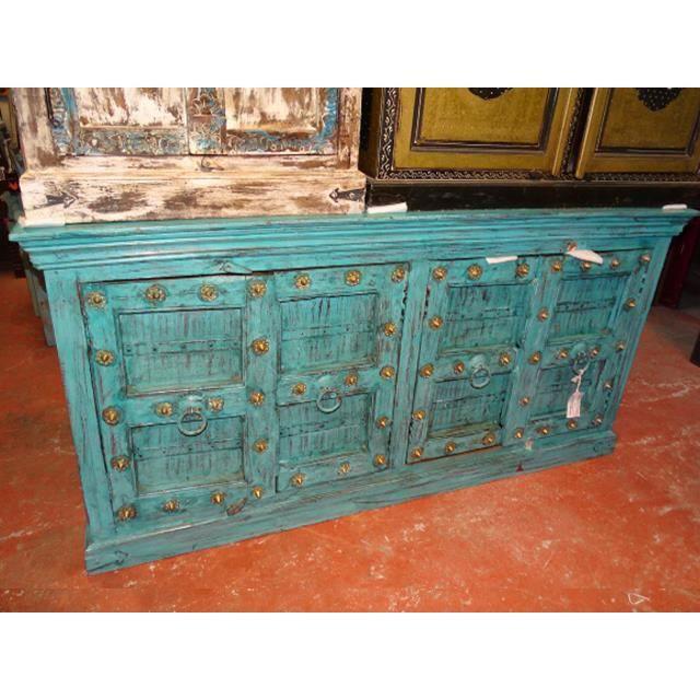 Grand buffet patiné en turquoise avec 4 vieilles portes - 1