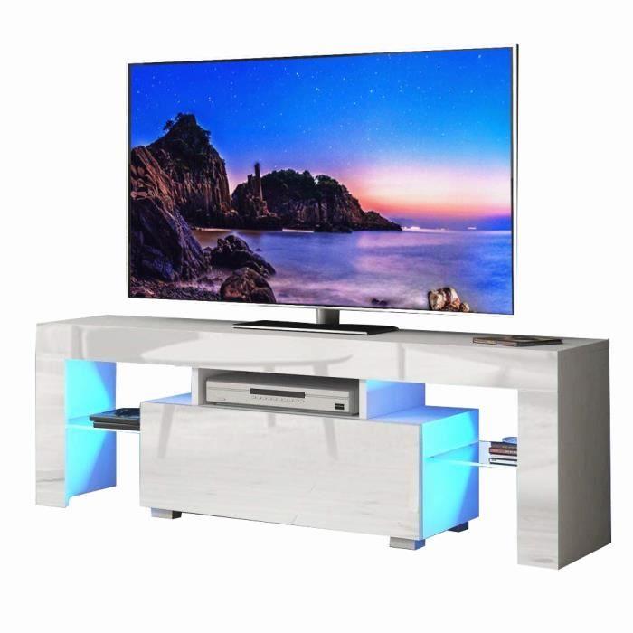 Meuble TV contemporain design avec tiroir et 2 étagères - Avec LED - 130 cm - EU plug - blanc brillant