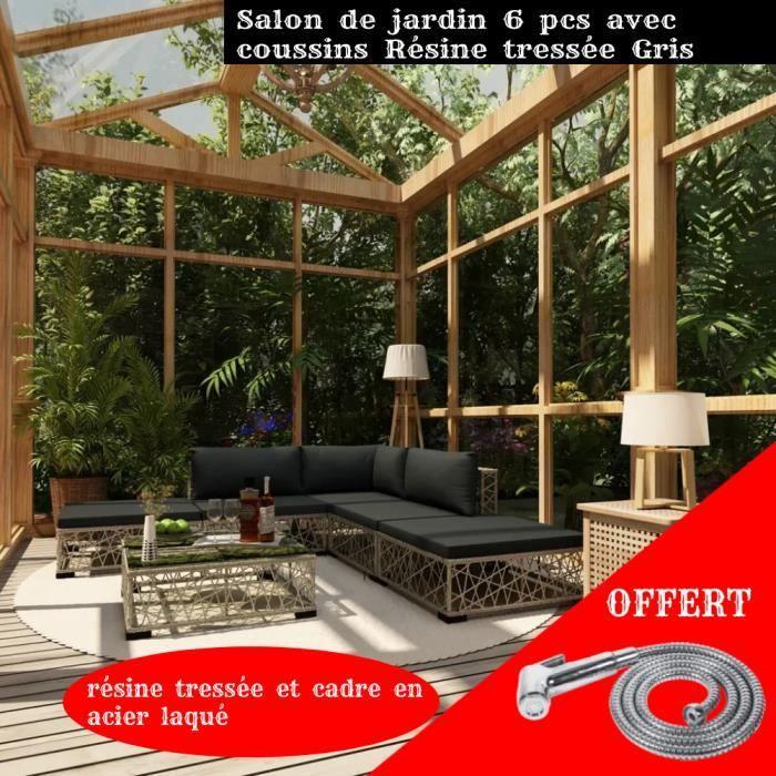 FIHERO 6 pcs Mobilier de jardin avec coussins Résine tressée Gris