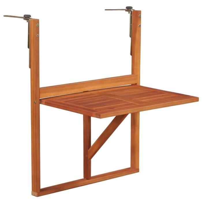 Table suspendue de balcon 64,5x44x80 cm Bois d'acacia massif Nouveau *650629