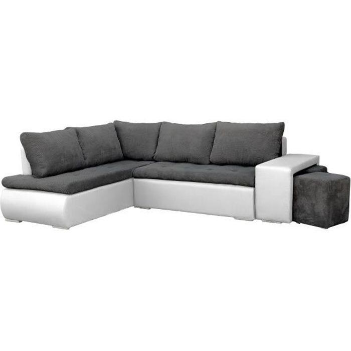 Canapé d'angle Convertibles avec Deux poufs Tissu + Simili Cuir BELGRAD (Gris foncé + Blanc, Canapé d'angle Gauche)