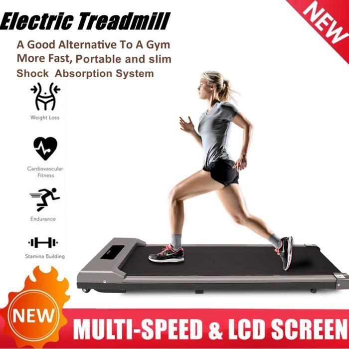 {Hosd Cheu} Tapis de Course Electrique Portable, Vitesse Réglable maximale 10 km/h, Écran LCD, Silencieux, Roues de Transport