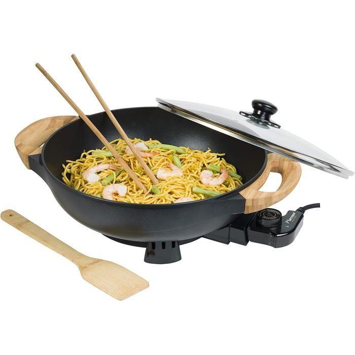 Bestron Wok électrique AEW100AS avec poignées en bambou, wok XL avec couvercle en verre, design asiatique, avec spatule en bamb A4
