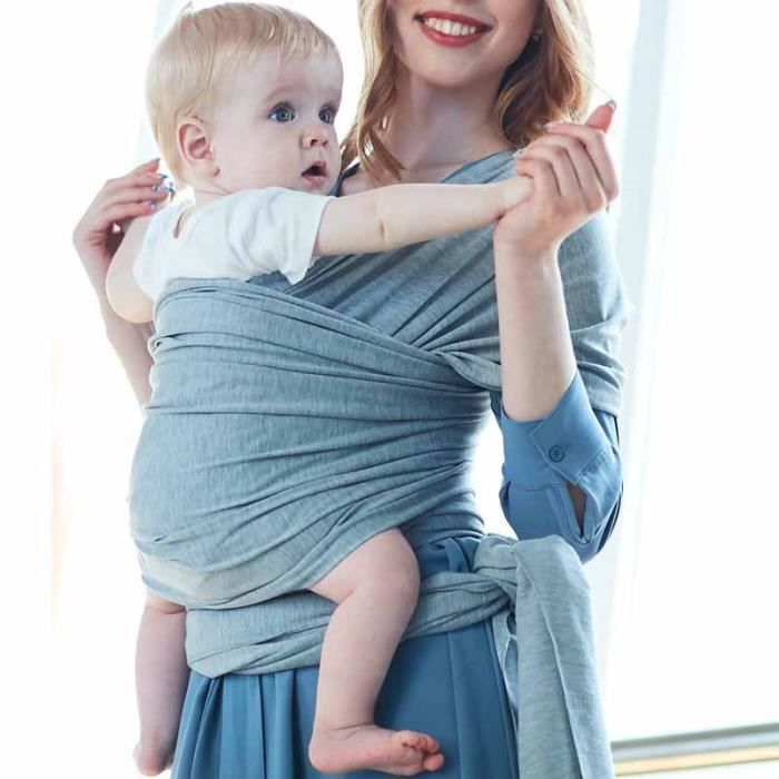 Echarpe de portage réglable Porte bébé Gris clair