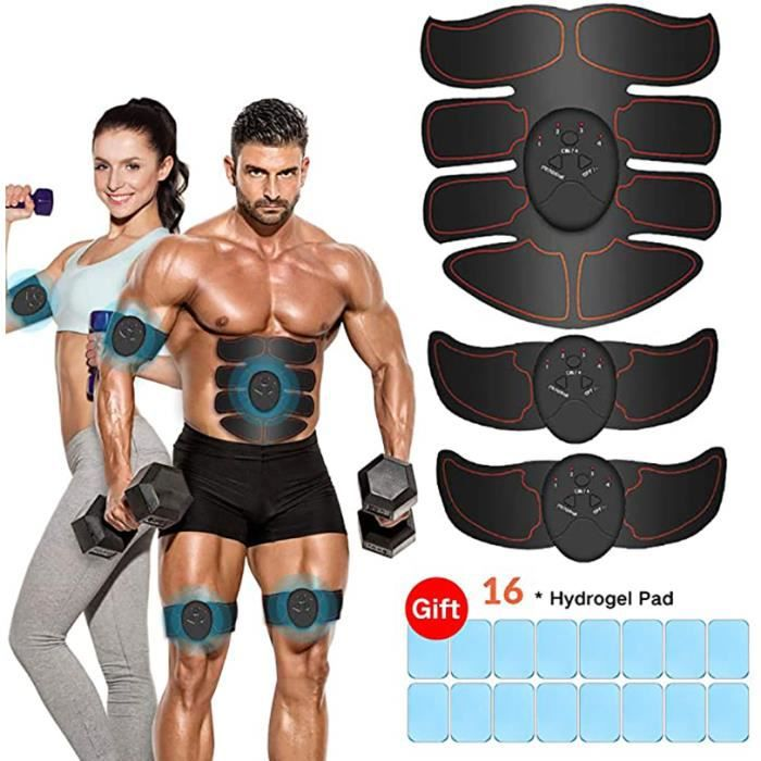 Electrostimulateur Musculaire EMS Ceinture Abdominale USB Stimulateur Musculaire pour Abdominale-Bras-Fesses-Dos -Rouge A627