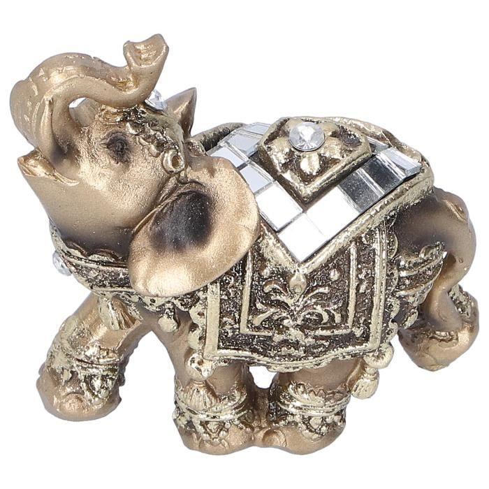 ROM Figurine en résine Éléphant Statue Résine Animal Ornement Artisanat Décoration De Bureau (Or S