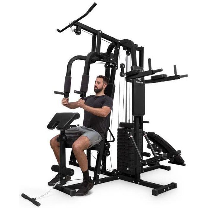 Station de musculation - KLARFIT Ultimate Gym 9000 - appareil à charge guidée + 100kg de poids fournis - noir