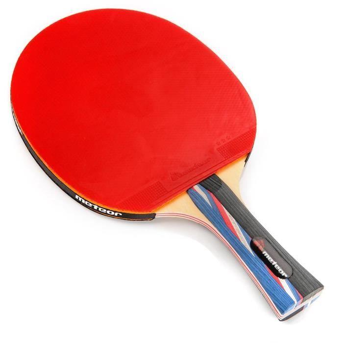 Raquette De Tennis De Table - meteor Mistral - Ping Pong - pour amateurs et demi professionnels - Rouge Noir - 3 étoiles