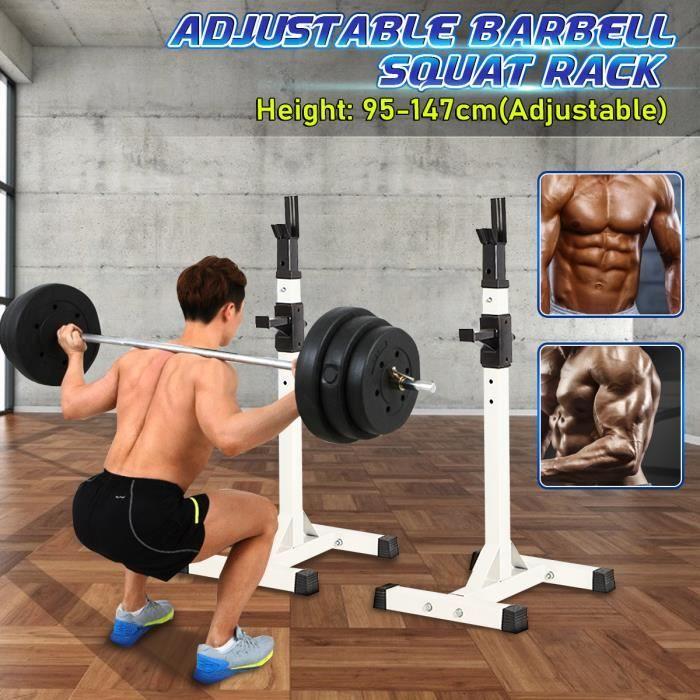 Barre de Traction Rack à Squat Support de Musculation Réglable Gym Home Fitness