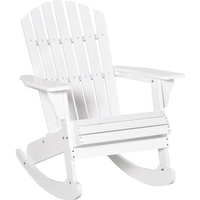 Fauteuil de jardin Adirondack à bascule rocking chair style néo-rétro assise dossier ergonomique bois sapin traité peint blanc
