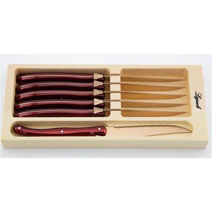 PRADEL EXCELLENCE 7209-6BTD Coffret 6 couteaux steack Laguiole - Manche Titane rose / Lame dorée