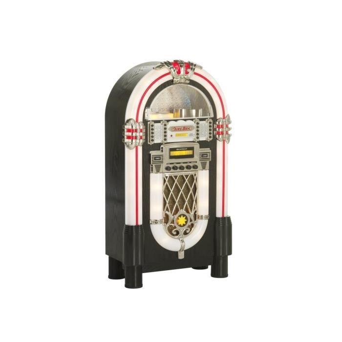 Ricatech RR950 Chaîne Hi fi style Jukebox rétro - lecteur CD - entrée AUX compatible MP3 - tuner radio FM-AM - éclairage LED - noir