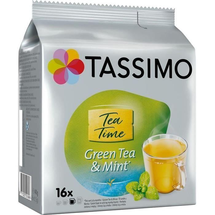 LOT DE 24 - TASSIMO Twinings - Dosettes de Thé vert à la menthe 16 Capsules