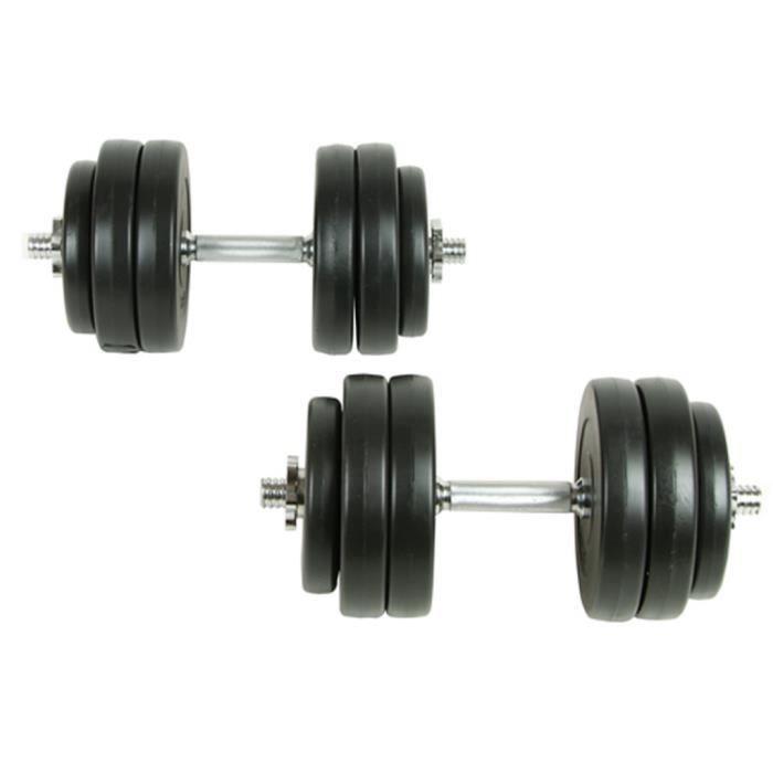 Ensemble de 2pcs Haltères de 30 kg avec 12 plaques pour professionnel exercice de force et santé de corps