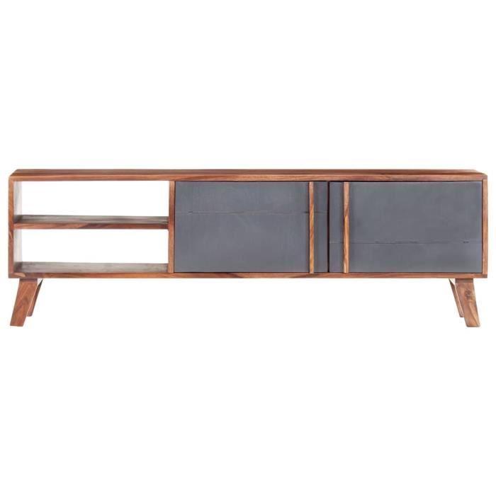 PRI Meuble TV 140x30x45 cm Bois massif avec finition claire surface polie, peinte et laquée gris et bois foncé Primel1