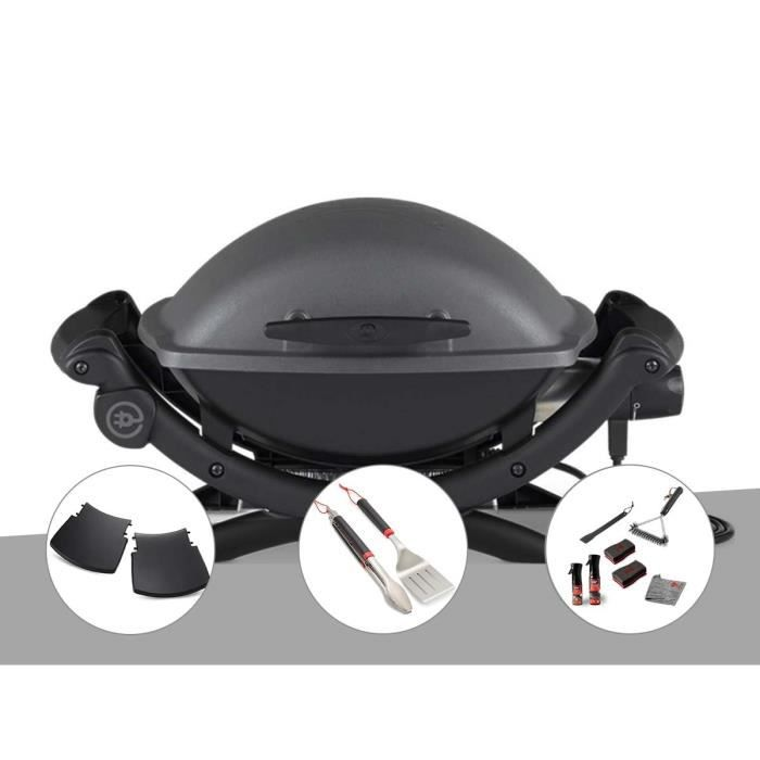 Barbecue électrique Q 1400 - Weber + Housse + Kit ustensiles + Kit de nettoyage