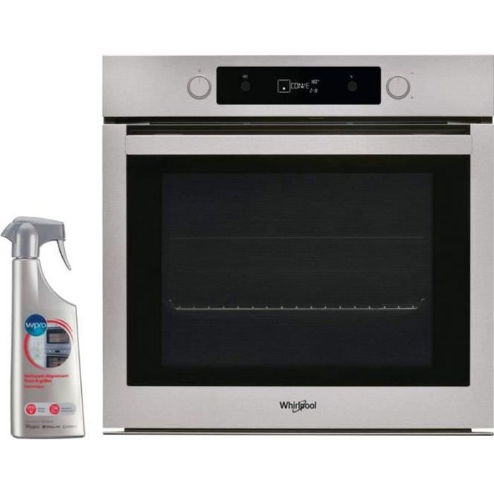 WHIRLPOOL Four Pyrolyse encastrable inox Multifonction 73L 7 modes de cuisson 56 Inox