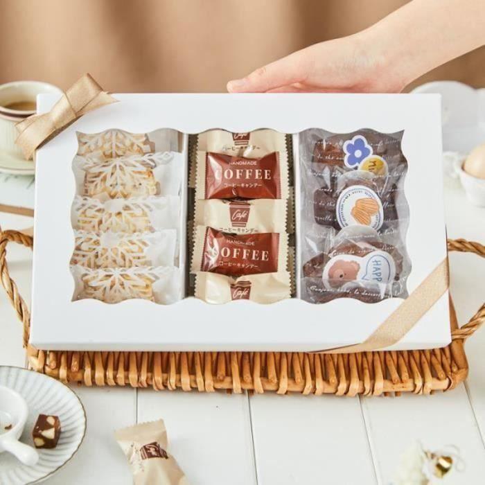 IS19245-Pastry box Fenêtre ouverte bote d'emballage de flocons de neige lait jujube madeleine quatre-quarts biscuits nougat bote 0