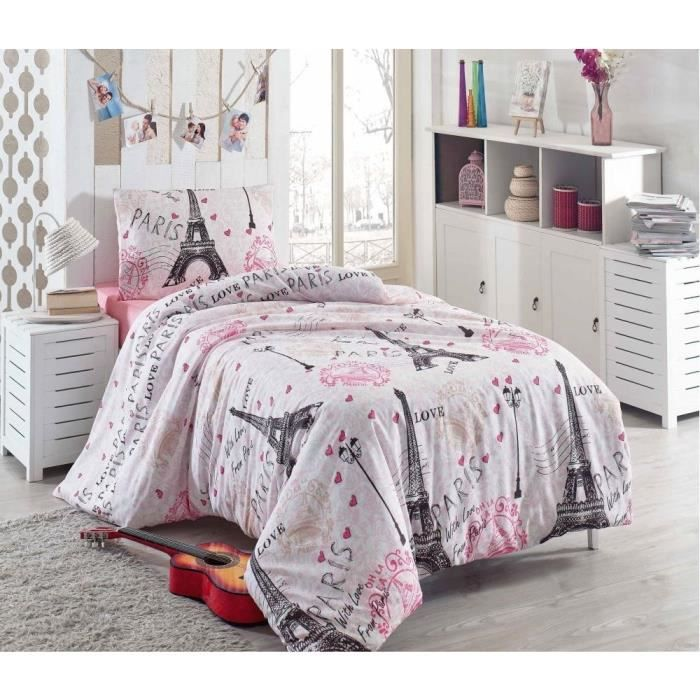 elegant parure de couette parure de lit paris tour eiffel amour rose perso with housse de. Black Bedroom Furniture Sets. Home Design Ideas