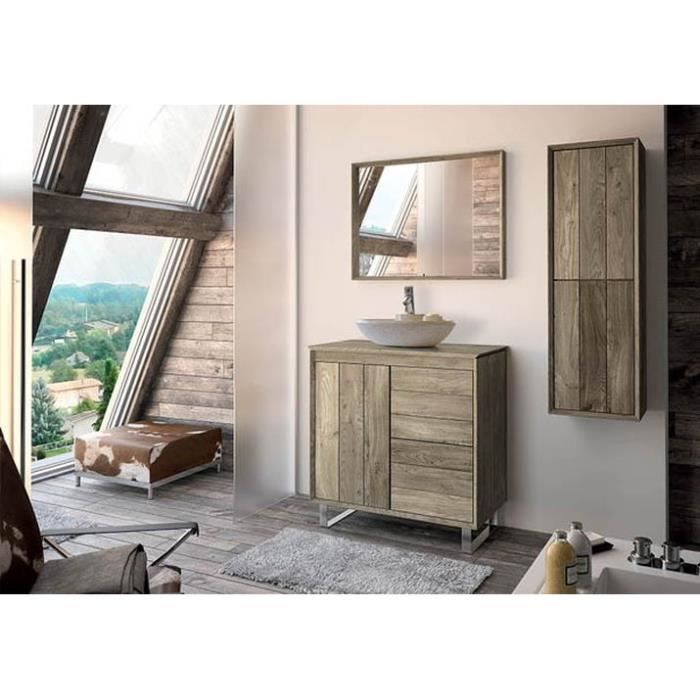 refuge meuble sous vasque 80 cm a poser chene clair plan bois achat vente meuble vasque. Black Bedroom Furniture Sets. Home Design Ideas