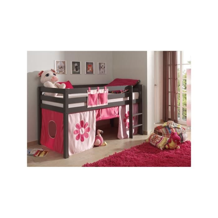 lit enfant compact pin massif gris pino 209 achat. Black Bedroom Furniture Sets. Home Design Ideas