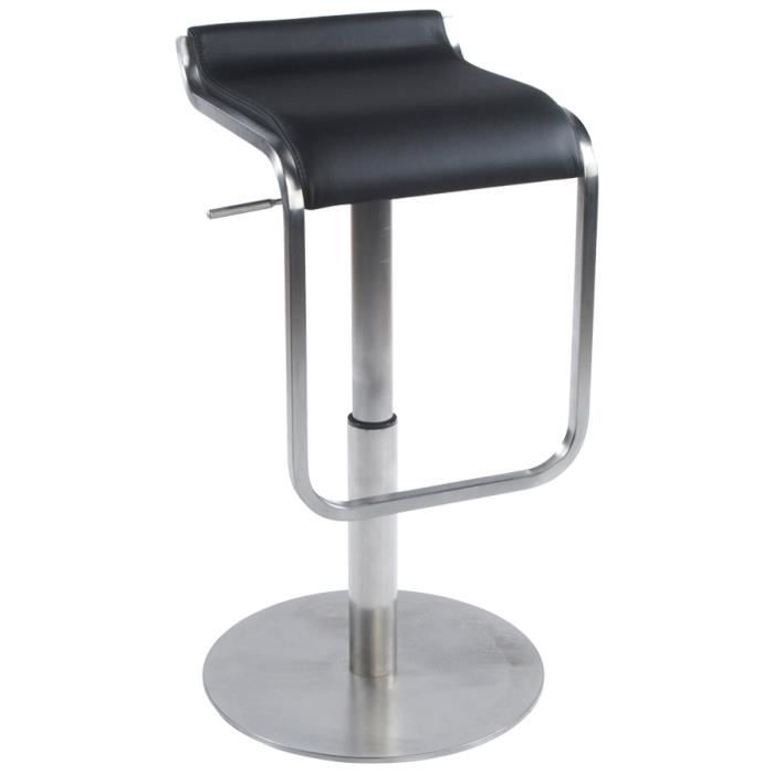tabouret de bar design carr en cuir noir achat vente. Black Bedroom Furniture Sets. Home Design Ideas