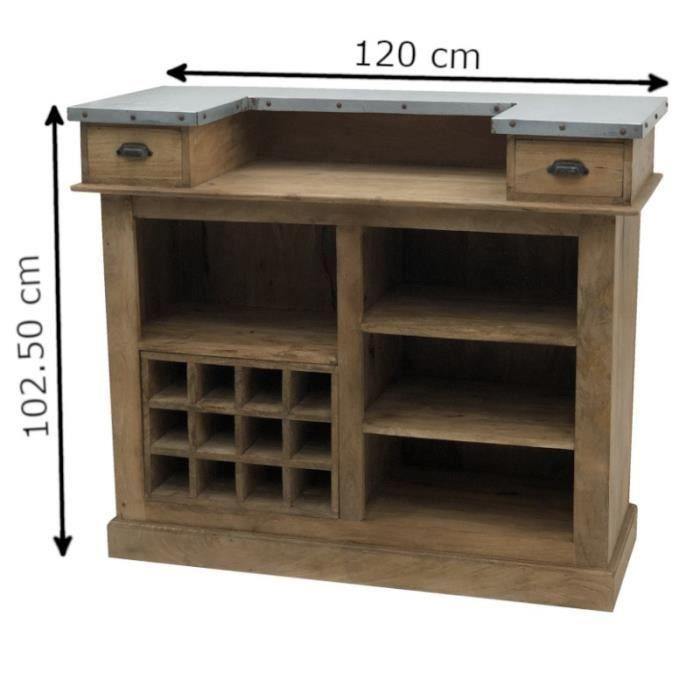 Bar Comptoir Bois Zinc Rangement Bouteilles Verre 120 Cm X 102 50 Cm X 51 Cm Comptoir Achat Vente Meuble Bar Bar Comptoir Bois Zinc Cdiscount
