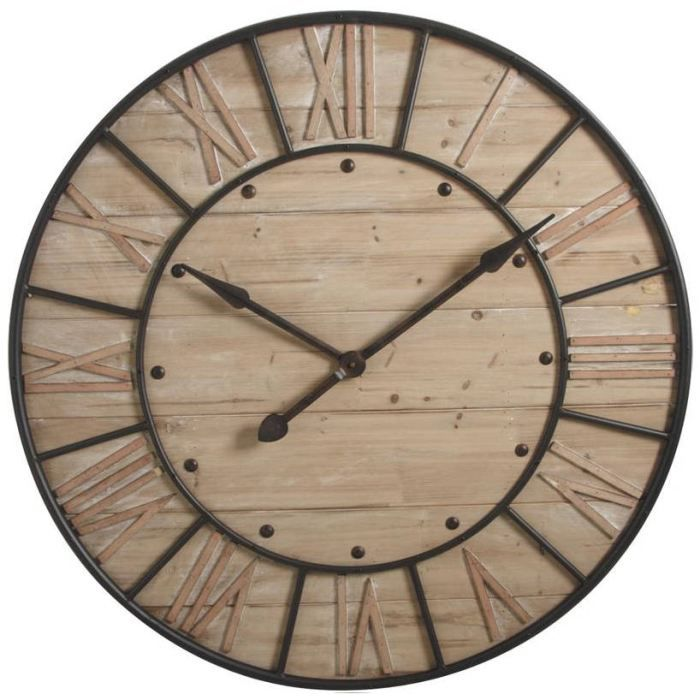 horloge murale industrie en m tal et bois 91x6cm achat vente horloge m tal bois cdiscount. Black Bedroom Furniture Sets. Home Design Ideas