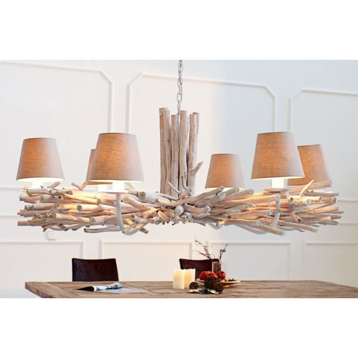 Lustre en bois folia naturel achat vente lustre en for Suspension bois et blanc
