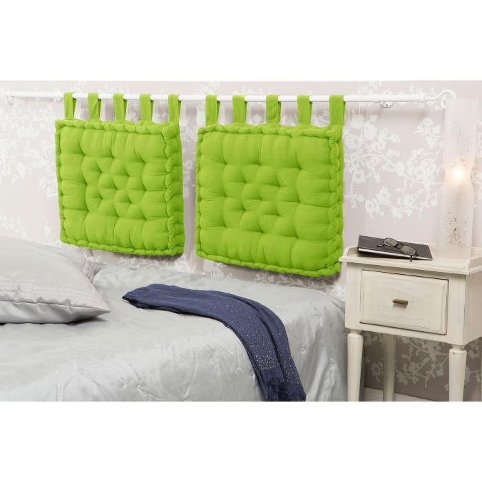 t te de lit coussin capitonn vert 50x60x6 cm cdt. Black Bedroom Furniture Sets. Home Design Ideas