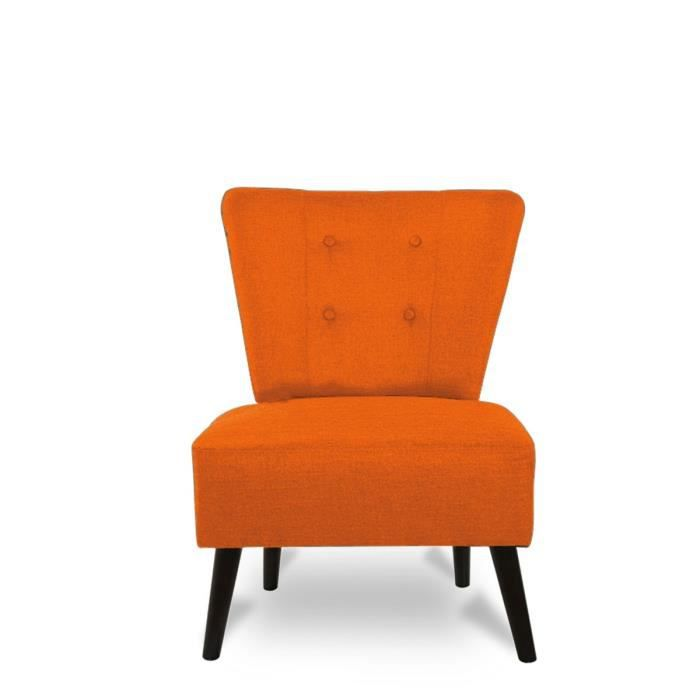fauteuil lounge capitonn brighton couleur orange achat vente fauteuil orange cdiscount. Black Bedroom Furniture Sets. Home Design Ideas
