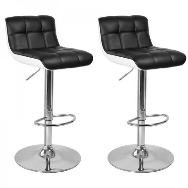 tabouret de bar blanc noir lot de 2 majesty achat. Black Bedroom Furniture Sets. Home Design Ideas