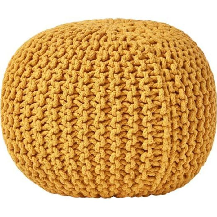 pouf en tricot rond jaune achat vente pouf poire cdiscount. Black Bedroom Furniture Sets. Home Design Ideas