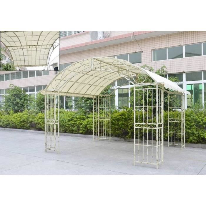 grande tonnelle couverte kiosque de jardin pergola abris rectangle en fer blanc 280x305x405cm. Black Bedroom Furniture Sets. Home Design Ideas