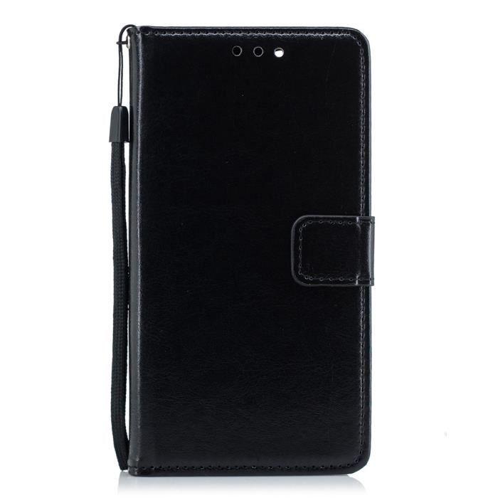 COQUE - BUMPER Coque LG K8 Plus,Noir Mode Luxe Cuir Portefeuille