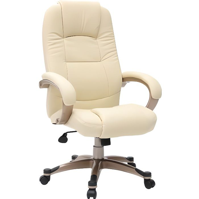 fauteuil chaise de bureau ivoire toronto achat vente chaise de bureau blanc cdiscount. Black Bedroom Furniture Sets. Home Design Ideas