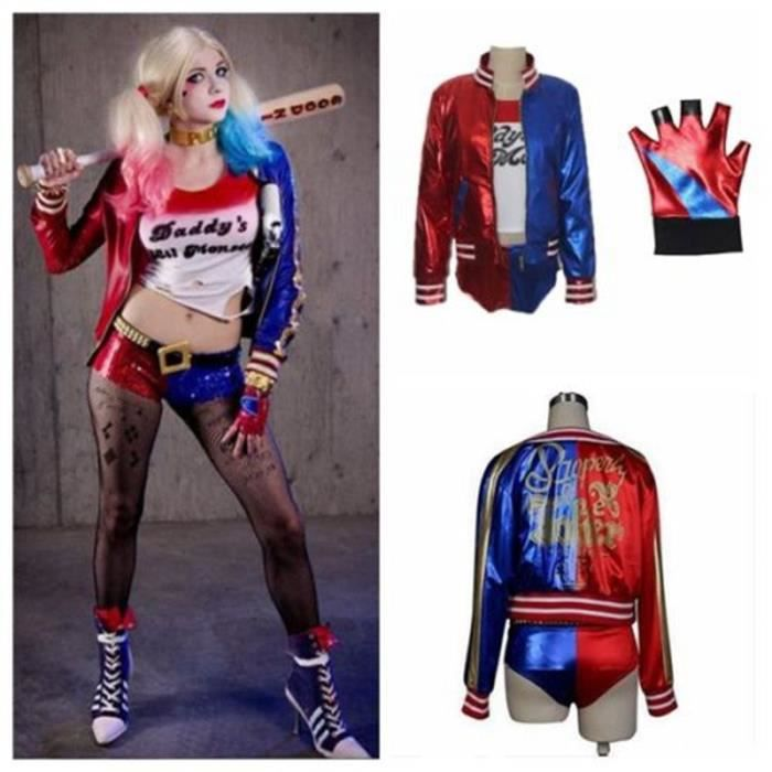 4 ensembl suicide squad harley quinn costume co rouge rouge bleu achat vente d guisement. Black Bedroom Furniture Sets. Home Design Ideas
