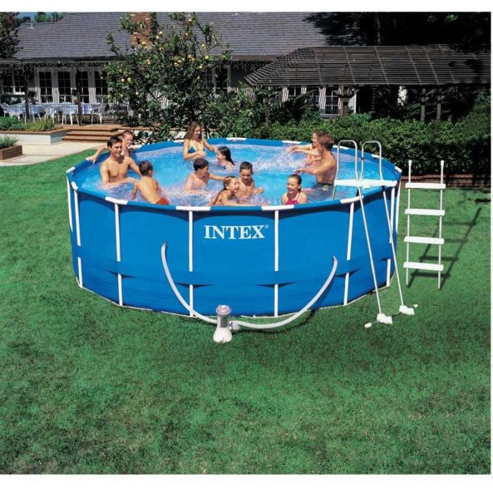 Piscine tubulaire m tal ronde intex 3 66 m achat for Piscine intex tubulaire en solde