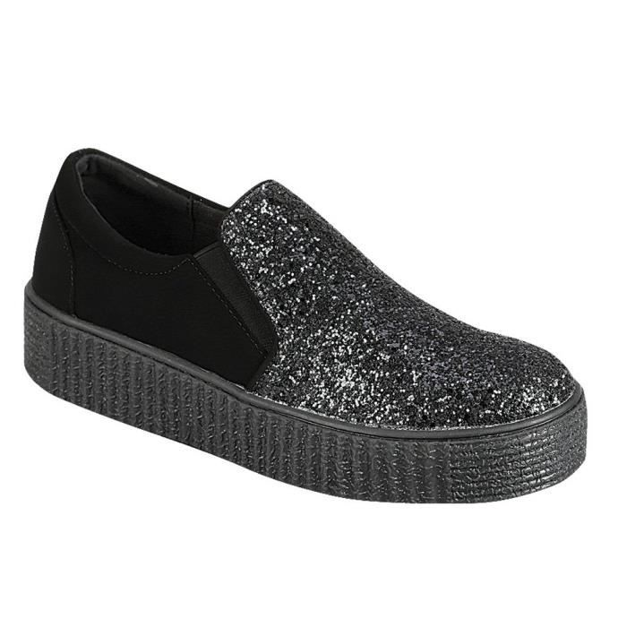Flatform Creeper Glitter 40 Taille Slip Sneaker Platform Toe Ylbwm Women's Closed on Round CS8T0q