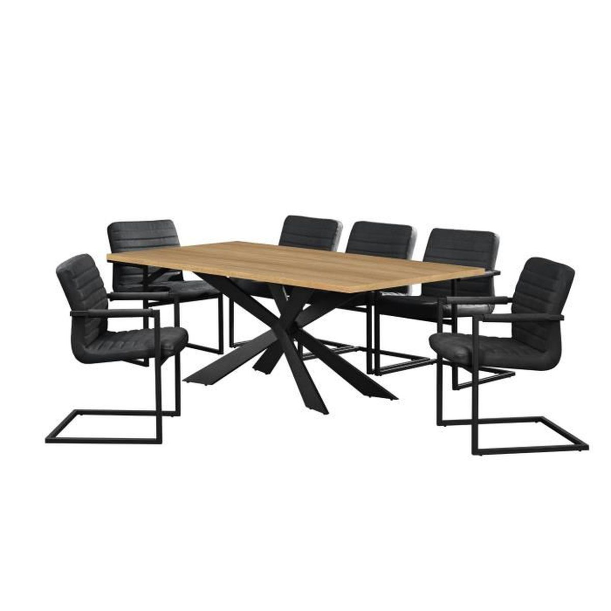 Table de salle manger ch ne brilliant avec 6 for Table de salle a manger de qualite