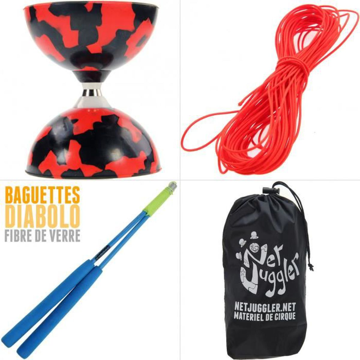 DIABOLO Diabolo roulements Rouge et Noir + Ficelle Orange