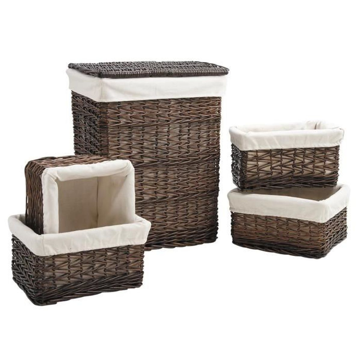 panier linge 4 corbeilles de rangement en osier. Black Bedroom Furniture Sets. Home Design Ideas