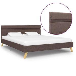 STRUCTURE DE LIT ETO Cadre de lit double avec LED Taupe Tissu 140 x